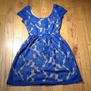 O'-sher Blue Flower Lace Dress